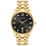 Mens Diamond Gold-Tone Stainless Steel Watch Black Dial Product Image