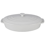 3.75qt Stoneware Covered Oval Casserole White Product Image