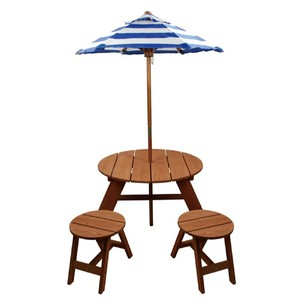 Wood Round Table w/ Umbrella and 2 Chairs Product Image