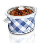 3 Qt Oval Slow Cooker Gingham Blue Product Image