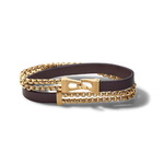 Mens Classic Double Wrap Leather & Gold-Tone Bracelet - Large Product Image