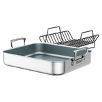 Brushed Stainless Steel Ceramic Nonstick Roasting Pan Product Image