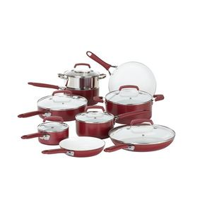 WearEver Pure Living Ceramic 15-Piece Cookware Set - Red Product Image
