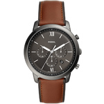 Mens Neutra Chronograph Black & Brown Leather Watch Black Dial Product Image