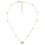 Gucci Running G Yellow Gold Necklace with Diamond GG Pendant