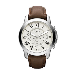 Mens Grant Brown Leather Strap Watch Egg Shell Dial Product Image