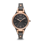 Ladies Georgia Smoke Leather Strap Watch Dark Gray Dial Product Image