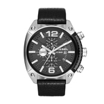 Mens Overflow Black Leather Strap Watch Black Dial Product Image