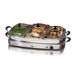 7.5qt SS Triple Buffet Server/Warm Plate w/ Removeable Tray Product Image