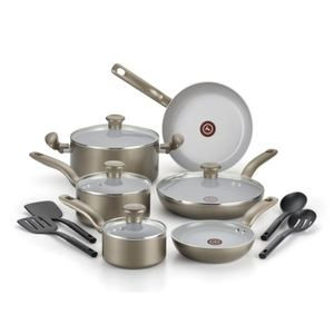 Initiatives Ceramic 14-Piece Cookware Set - Champagne Product Image
