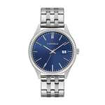Mens Silver-Tone Stainless Steel Watch Dark Blue Dial Product Image