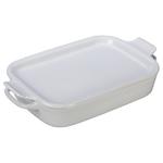 2.75qt Stoneware Rectangular Dish w/ Platter Lid White Product Image