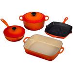 6pc Signature Cast Iron Cookware Set Flame Product Image