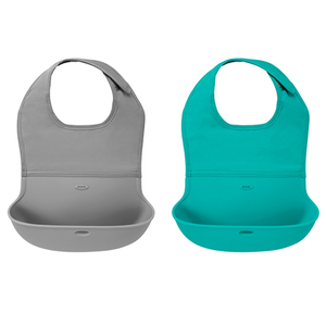 Tot Roll Up Bib 2-Pack Gray & Teal Product Image