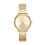 Ladies Portia Gold-Tone Stainless Steel Watch Gold Dial w/ Crystal Subdial Product Image