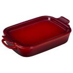 2.75qt Stoneware Rectangular Dish w/ Platter Lid Cerise Product Image