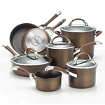 11pc Symmetry Hard Anodized Cookware Set Chocolate Product Image