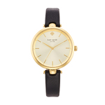 Holland Skinny Black Strap Watch Gold Sunray Dial Product Image