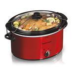 5qt Portable Oval Slow Cooker Red Product Image