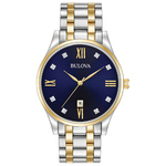 Mens Diamond Two-Tone Stainless Steel Watch Dark Blue Dial Product Image