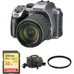 K-70 DSLR Camera with 18-135mm Lens and Accessories Kit (Silver) Product Image