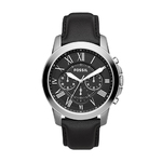 Mens Grant Chronograph Black Leather Strap Watch Black Dial Product Image
