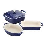 4pc Ceramic Baking Dish Set Dark Blue Product Image