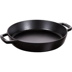 "13"" Cast Iron Double Handle Fry Pan Matte Black Product Image"