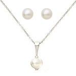 White Pearl Necklace & Earring Set
