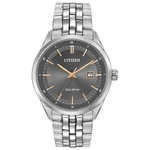 Mens Eco-Drive Sapphire Stainless Steel Watch Gray Dial Product Image