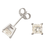 White Gold Princess Cut Diamond Earrings Product Image