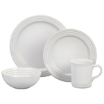 16pc Stoneware Dinnerware Set White Product Image