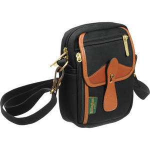 Stowaway Compact Shoulder Bag (Black/Tan Leather) Product Image