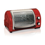 Easy Reach Toaster Oven w/ Roll-Top Door Red Product Image