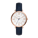 Ladies Jacqueline Navy Leather Strap Watch White Dial Product Image