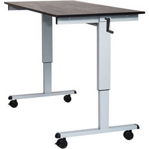 "60"" Crank Adjustable Stand-Up Desk (Black Oak Desk, Silver Frame) Product Image"