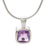 Purple Amethyst Necklace w/ Stainless Steel Chain Product Image