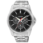 Mens Quartz Stainless Steel Watch Black Dial Product Image