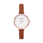 Ladies Metro Rose Gold & Brown Leather Strap Crystal Watch White Dial Product Image