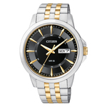 Mens Quartz Two-Tone Stainless Steel Watch Black Dial Product Image