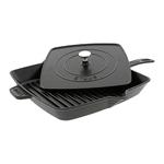 "Cast Iron 12"" Square Grill Pan & Press Set Matte Black Product Image"