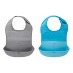 Tot Roll Up Bib 2-Pack Gray & Aqua Product Image