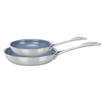 2pc Stainless Steel Ceramic Nonstick Fry Pan Set Product Image