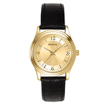 Corporate Ladies Gold-tone Black Leather Strap Watch Gold Dial Product Image