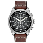 Mens Avion Eco-Drive Brown Strap Watch Black Dial Product Image