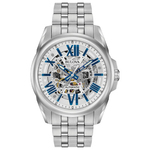 Mens Automatic Silver Stainless Steel Watch Skeleton Dial Product Image