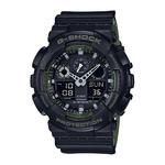 Mens Ana-Digi Black Resin Watch Black & Army Green Dial Product Image