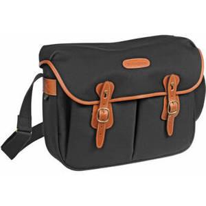 Hadley Large Canvas Shoulder Bag (Black with Tan Leather Trim) Product Image