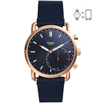 Mens Q Commuter Hybrid Smartwatch Navy Leather Strap Navy Dial Product Image