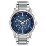 Mens Dress Eco-Drive Stainless Steel Watch Blue Dial Product Image